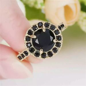 ❤️gorgeous Turkish  black rhinestone gold ring 6